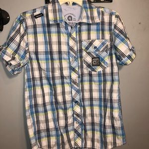 Akdmks boys plaid button down shirt 👕